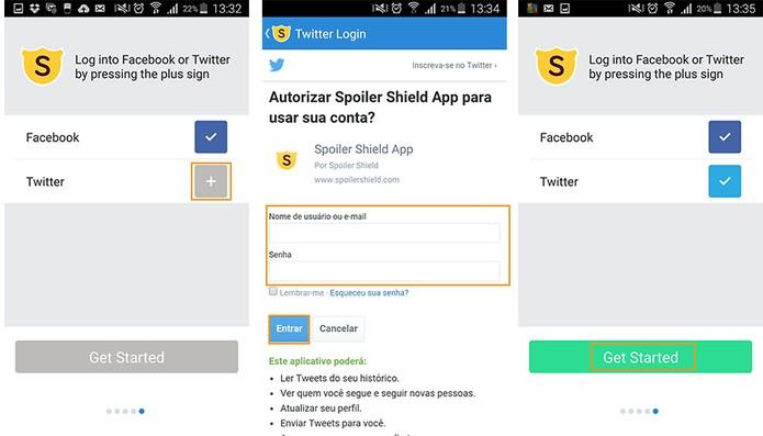 Faça a conexão com Twitter e acesse as funções do app (Foto: Reprodução/Barbara Mannara)