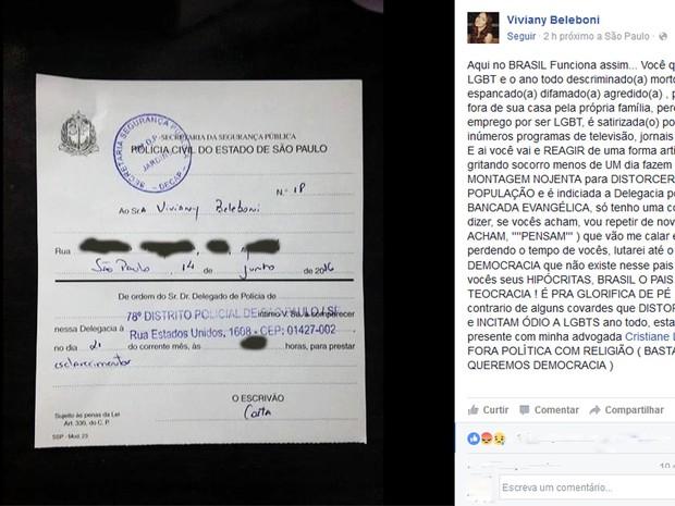 Viviany Beleboni comentou intimação em post publicado em rede social (Foto: Reprodução/Facebook)
