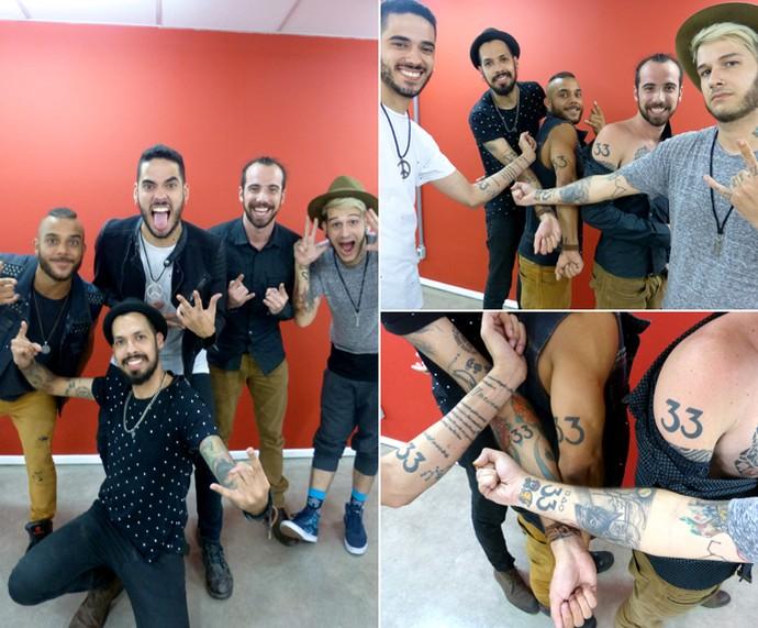 Olha esses músicos da Bella Xu todos tatuados! (Foto: Bruna Magalhães / Gshow)