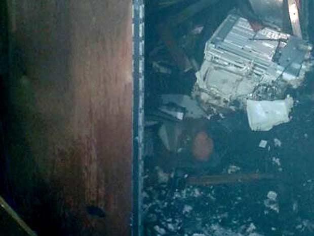 Sala do sétimo andar do prédio do Ministério da Defesa destruída após incêndio (Foto: Corpo de Bombeiros/Divulgação)