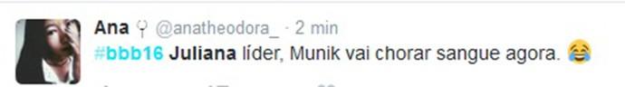 Internauta deseja mal de Munik (Foto: Reprodução Internet)