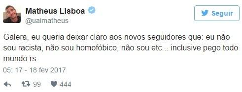 Matheus Lisboa, do BBB 16, cria polêmica em rede social  (Foto: Reprodução do Twitter)