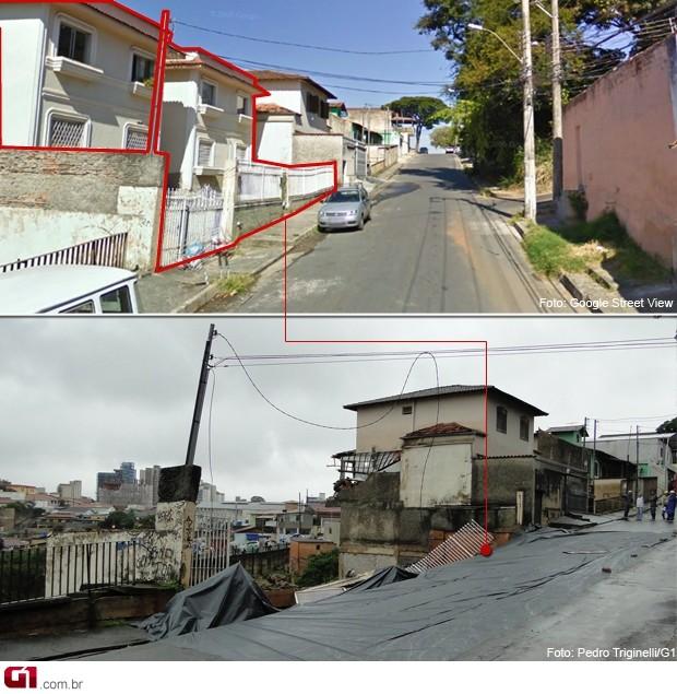 Imagem mostra o prédio antes e depois da queda (Foto: Pedro Triginelli/G1)