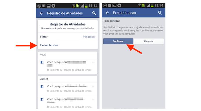 Excluindo o histórico de buscas do Facebook através do aplicativo para smartphones (Foto: Reprodução/Marvin Costa)