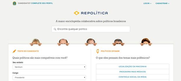 O site Repolítica permite pesquisar candidatos por suas opiniões políticas, mas não lista todos os inscritos na eleição (Foto: Reprodução)