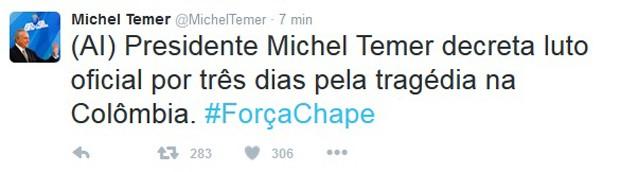 Michel Temer decreta luto de três dias em razão da tragédia com avião que transportava o time da Chapecoense (Foto: Reprodução / Twitter)