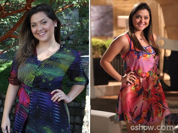 Antes e depois da atriz Polliana Aleixo (Foto: Carol Caminha / TV Globo)