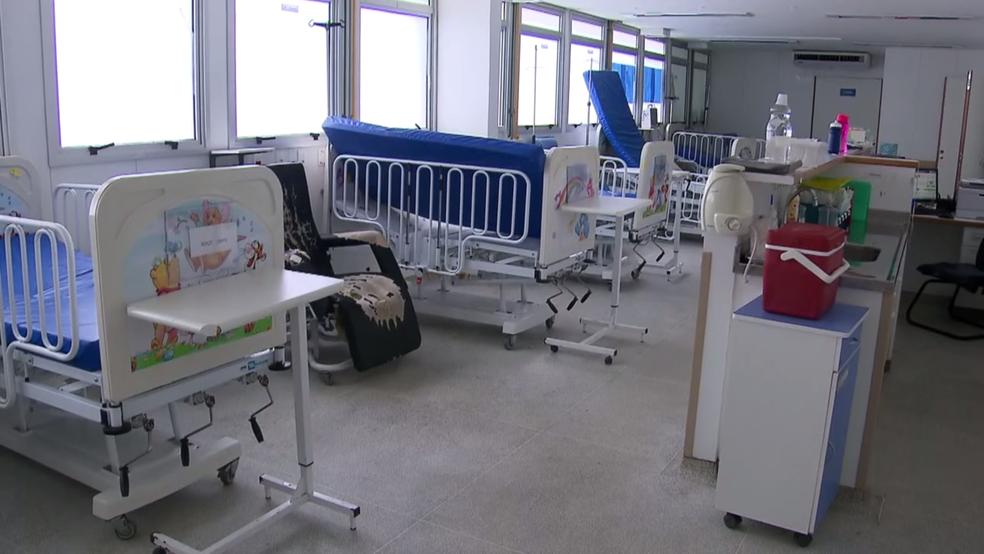 Interior da pediatria do Hospital Regional do Gama, no DF (Foto: TV Globo/Reprodução)