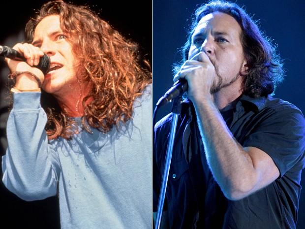 Eddie Vedder, do Pearl Jam, em 1992; e o cantor no Lollapalooza 2013, em São Paulo (Foto: Anna Krajec/Michael Ochs Archives/Getty Images e Flavio Moraes/G1)