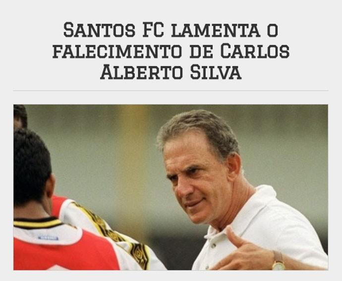 Homenagem do Santos para Carlos Alberto Silva (Foto: Site do Santos)