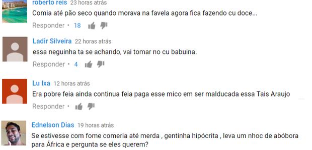 Comentários agressivos feitos a atriz Tais Araujo (Foto: Reprodução)