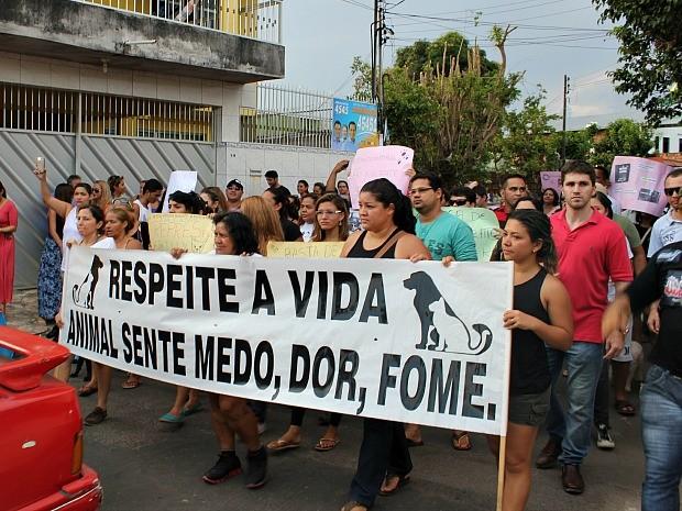 Manifestantes pediam justiça contra suposto agressor de casal de Pitbulls (Foto: Indiara Bessa/ G1 AM)