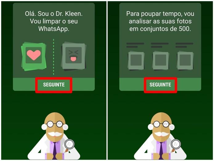 Siga os passos indicados pelo Dr. Kleen no Magic Cleaner for WhatsApp (Foto: Reprodução/Lucas Mendes)