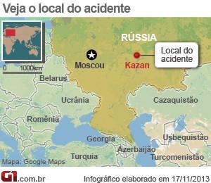 VALE ESTE Mapa - acidente aéreo na Rússia (Foto: Arte/G1)