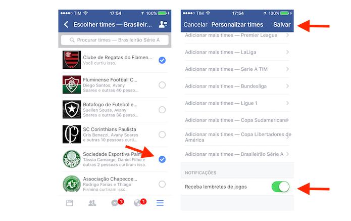 Gerenciamento de times na ferramenta esportes do Facebook para iPhone (Foto: Reprodução/Marvin Costa)
