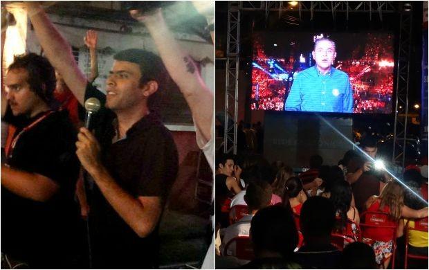 Raphael Pimentel da Rede Amazônica anuncia mensagem de Luis Roberto aos fãs de Dileno Lopes do bairro Alvorada, em Manaus (Foto: Onofre Martins/Rede Amazônica)