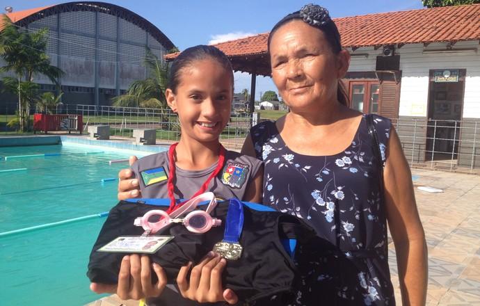 Natação, Peixinhos Voadores realiza sonho de menina de 10 anos no AP (Foto: Jonhwene Silva/GE-AP)