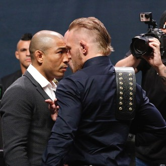 Encarada José Aldo e Conor McGregor UFC Go Big (Foto: Evelyn Rodrigues)