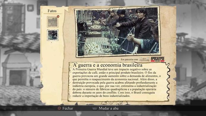 Jogo traz informativos sobre as condições da guerra. (Foto: Reprodução)