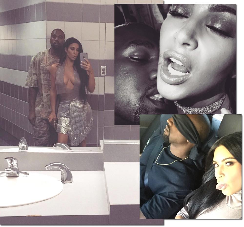 A couple's selfie: cliques sensuais na companhia do marido Kanye West (Foto: Getty Images)