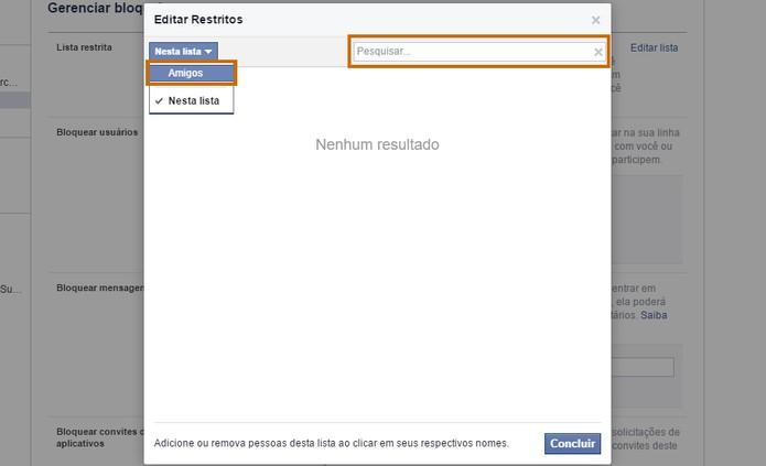 Altere a lista para mostrar o amigos do Facebook e busque pelo nome (Foto: Reprodução/Barbara Mannara)