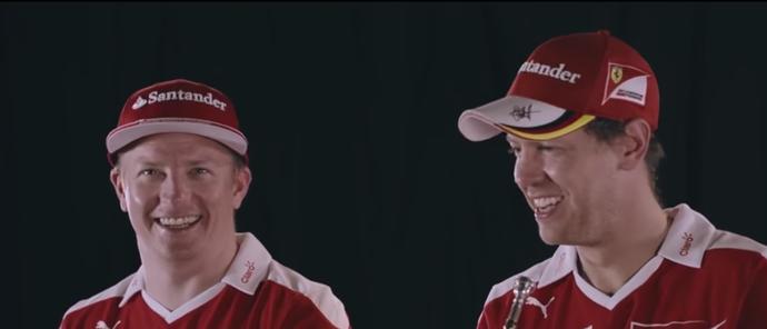 Vettel e Kimi trompete (Foto: Reprodução)