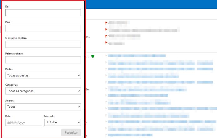 Busca avançada do Outlook (Foto: Reprodução/Lívia Dâmaso)