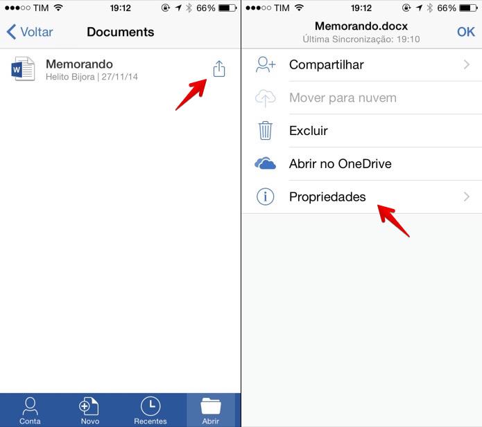 Acessando propriedades de um arquivo no aplicativo do Word (Foto: Reprodução/Helito Bijora)
