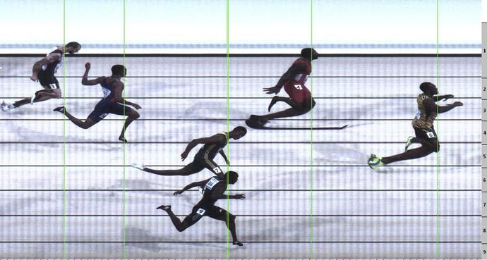 Photo Finish da final dos 200m do Mundial de Atletismo, prova vencida por Usain Bolt (Foto: Reuters)