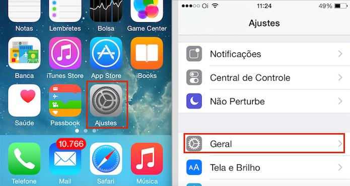 """Acessando a opção """"Geral"""" nos """"Ajustes"""" do iOS (Foto: reprodução/Edivaldo Brito) (Foto: Acessando a opção """"Geral"""" nos """"Ajustes"""" do iOS (Foto: reprodução/Edivaldo Brito))"""