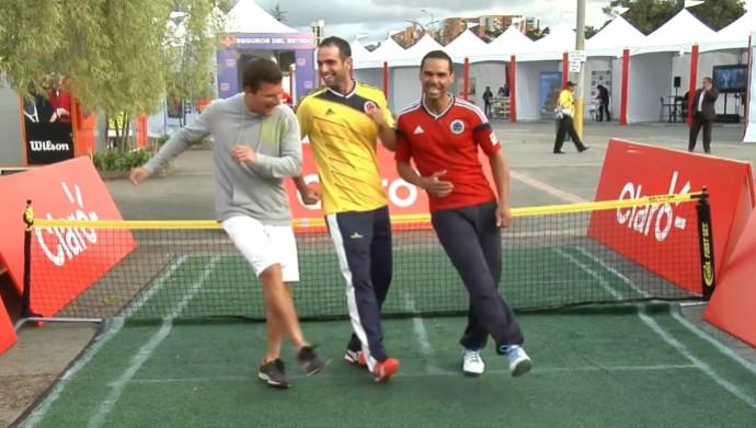 Alejandro Falla, Juan Sebastián Cabal e Nicolás Barrientos dancinha bogotá copa do mundo (Foto: Reprodução / YouTube)