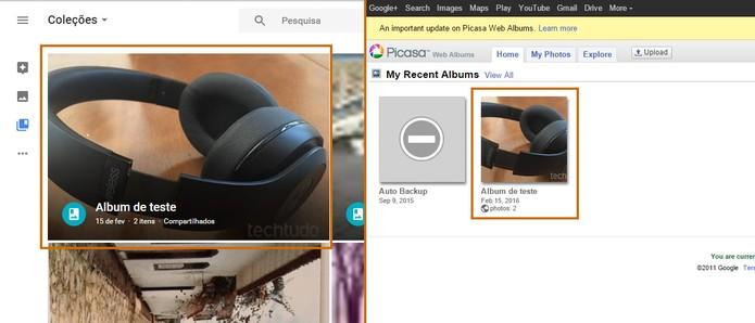 Note que o álbum criado no Picasa será exportando para o Google Fotos automaticamente (Foto: Reprodução/Barbara Mannara)