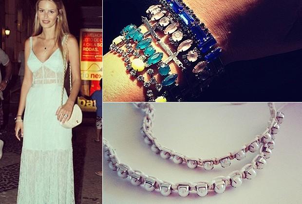 Yasmin Brunet abusou da renda branca no look de réveillon; mix de pulseiras turquesa da atriz Fernanda Paes Leme e pulseiras de pérola da atriz Nathália Rodrigues (Foto: Reprodução/Instagram)