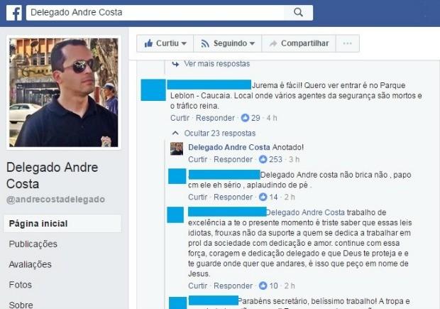 Internauta provocou secretário André Costa em comentário nas redes sociais (Foto: Reprodução/Facebook)