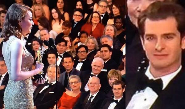 Andrew Garfield emocionado durante o discurso de agradecimento de Emma Stone (Foto: Reprodução)