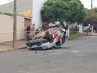 Motorista embriagado provoca capotamento de carro da PM