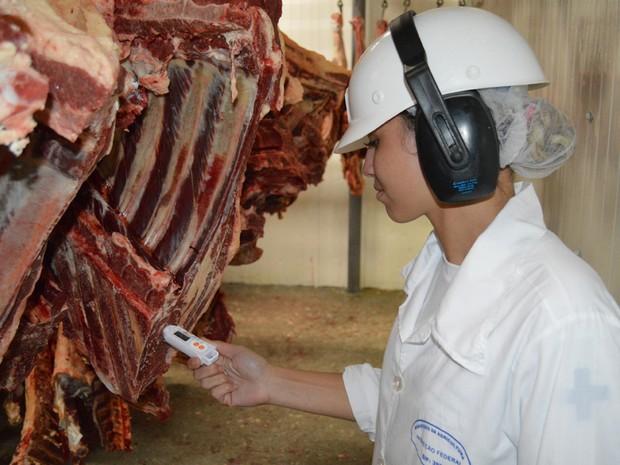 Sistema de Inspeção Federal faz rigido controle da qualidade da carne no frigorífico (Foto: Anderson Viegas/Do G1 MS)