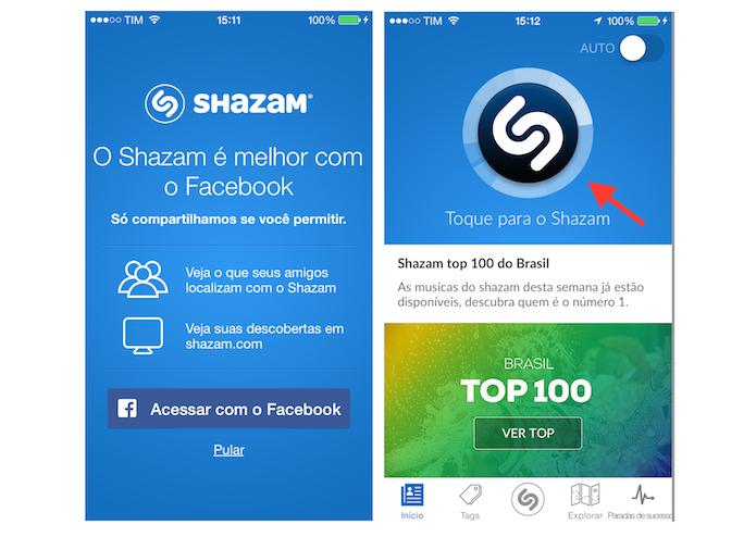 Conectado o Shazam ao Facebook e iniciando o reconhecimento de uma música (Foto: Reprodução/Marvin Costa)