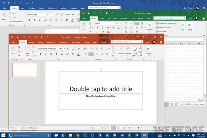 Office 2016 terá temas coloridos para diferenciar Word, Excel e mais (Foto: Reprodução/Betaarchive)