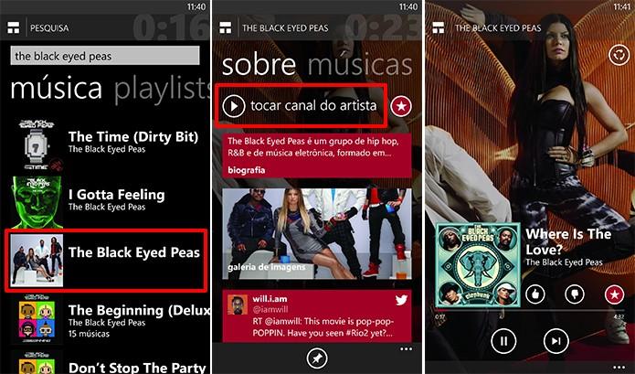 Nokia MixRadio traz informações sobre artistas e integração com redes sociais no Windows Phone (Foto: Reprodução/Elson de Souza)