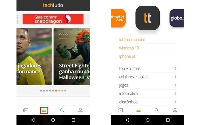 Primeira tela do menu principal do app TechTudo (Foto: Reprodução/Raquel Freire)