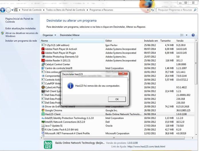 Remover o Hao 123 do computador (Foto: Reprodução/Barbara Mannara)