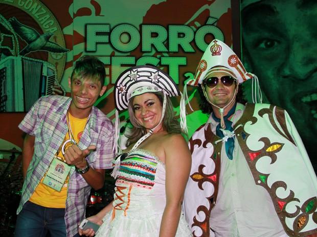 Os três finalistas da 2ª eliminatória do Forró Fest (Foto: Francisco França)