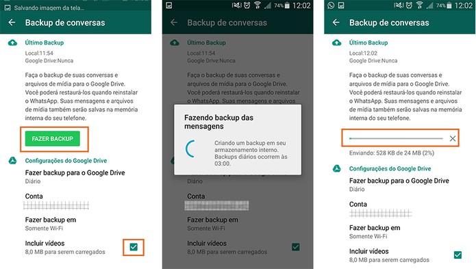 Ative o backup de vídeos no WhatsApp e realize o primeiro envio (Foto: Reprodução/Barbara Mannara)