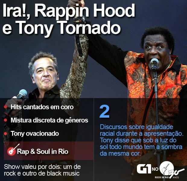 Ira! canta com Tony Tornado e Rappin Hood no Palco Sunset (Foto: Alexandre Durão/G1)