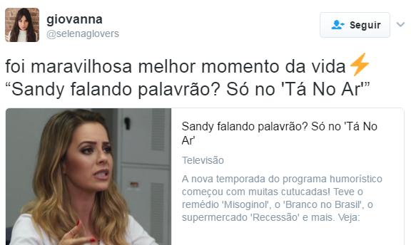Sandy participa da quarta temporada de Tá no Ar. (Foto: Reprodução/Twitter)