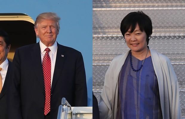 Donald Trump e a primeira-dama do Japão, Akie Abe (Foto: Getty Images)