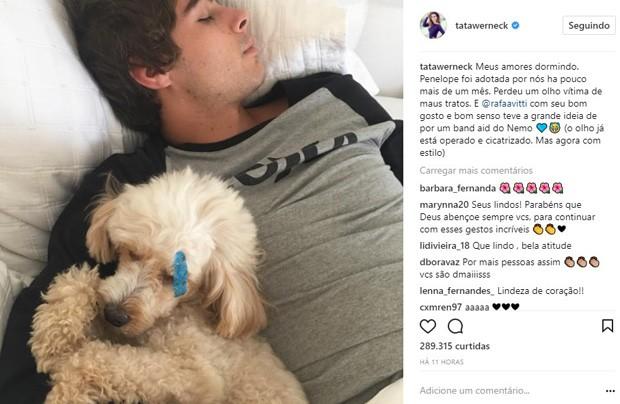 Tatá Werneck posta foto de Rafael Vitti com cachorrinho (Foto: Reprodução/Instagram)