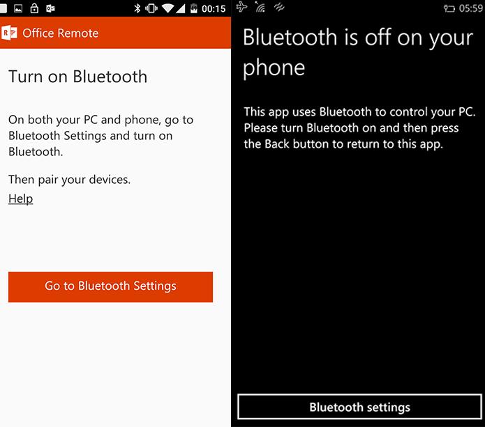 Office Remote no Windows Phone e Android solicitará conexão via Bluetooth (Foto: Reprodução/Elson de Souza) (Foto: Office Remote no Windows Phone e Android solicitará conexão via Bluetooth (Foto: Reprodução/Elson de Souza))