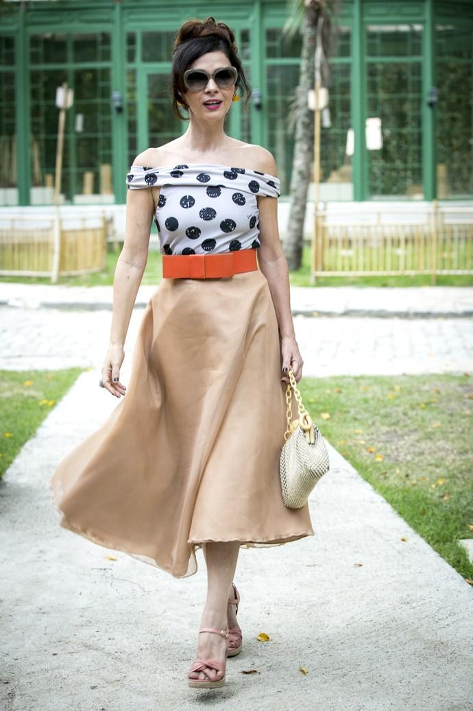 Claudia Ohana foi uma das que mais arrancou elogios dos colegas ao aparecer com o look de Loretta (Foto: Isabella Pinheiro/Gshow)